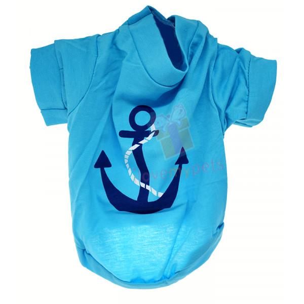 Drooling Dog Anchor T-shirt, Aqua Blue, ...