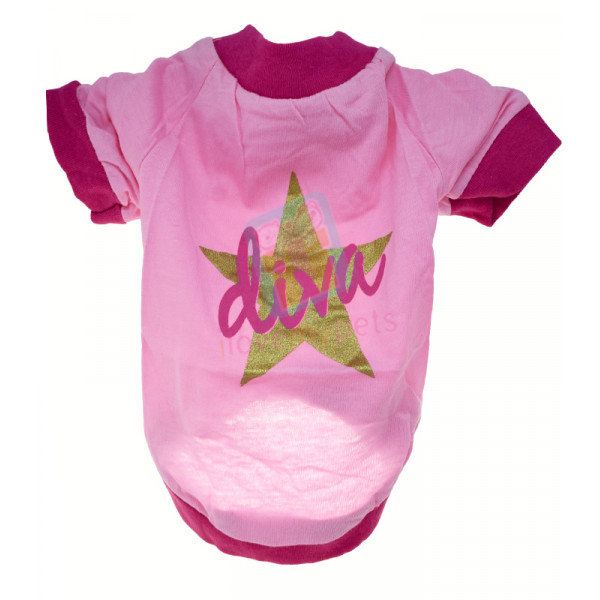 Drooling Dog Diva T-shirt, Cotton Pink