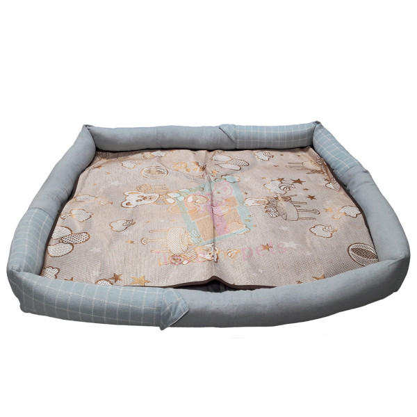 Happy Pets Rectangle Pet Bed w/ Detachable Natural Cooling Mat (Large)