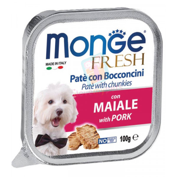 Monge Fresh Dog Food, Pork, 100 grams