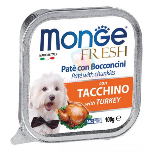 Monge Fresh Dog Food, Turkey, 100 grams