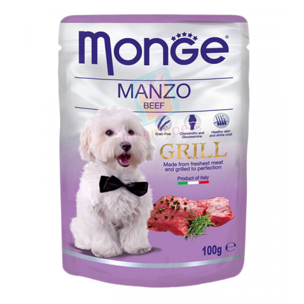 Monge Grill Dog Food, Pouch, Beef, 100 g...