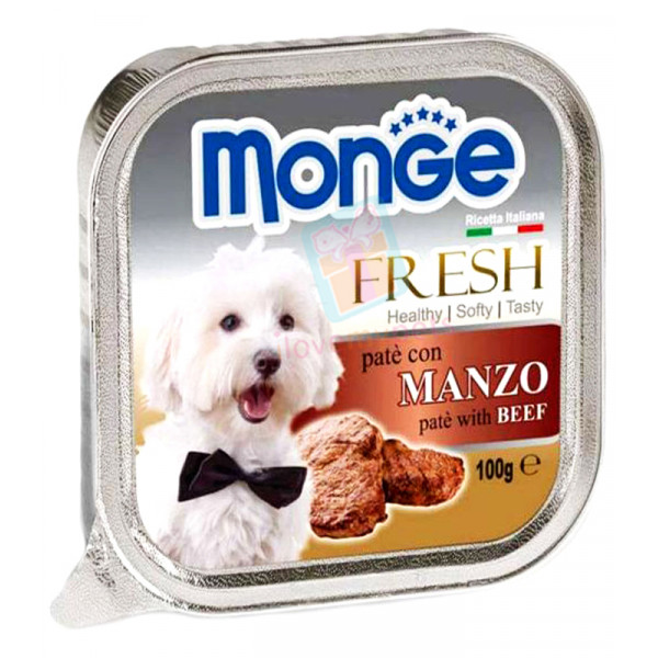 Monge Fresh Dog Food, Cod Beef, 100 gram...