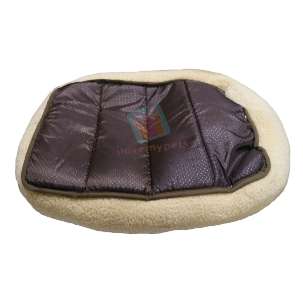 Hoopets plush rectangle dog bed, Rainbow design washable, Beige, Small
