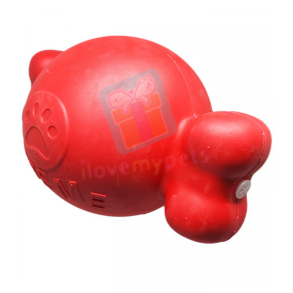 Carno Rubber Bouncy Bone Dog Toy w/ Squeaker, Red (Toys for Big Dogs)