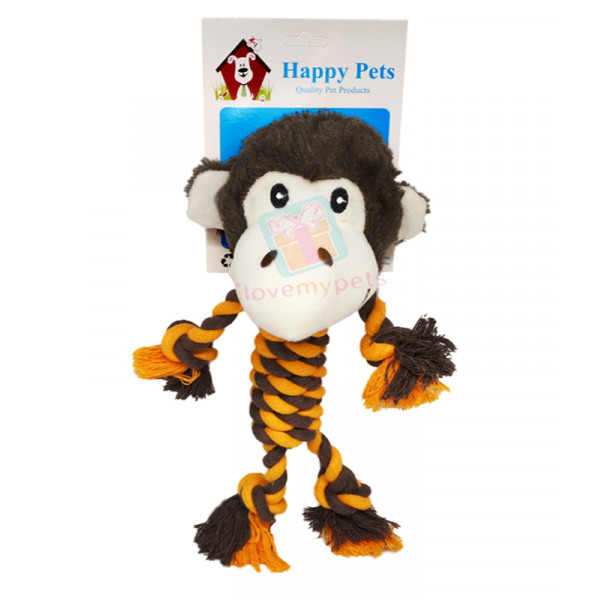 Happy Pets Animal Rope Toy w/ Squeaker a...