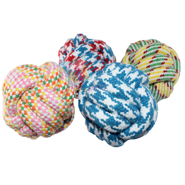 Braided knot ball dog toy