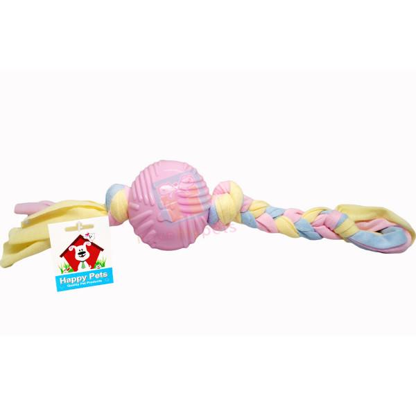 Happy Pet Teether Ball Tug Toy