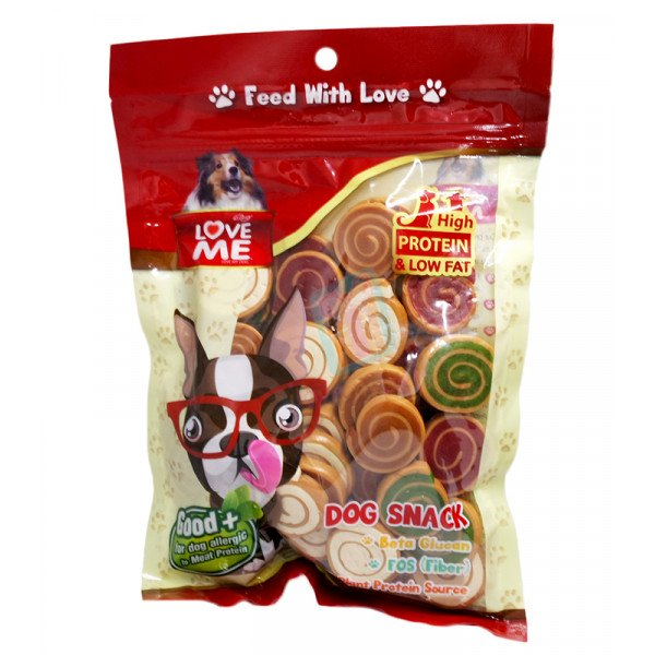 Love Me Soft Dog Snack (Pinwheel) Made in Thailand (Best For Dogs Allergic to Meat Protein) Approx 50 pcs.