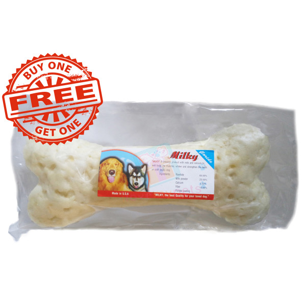 """Natural Milky Calcium Bone  6"""" (For Big Dogs), Made in Thailand"""