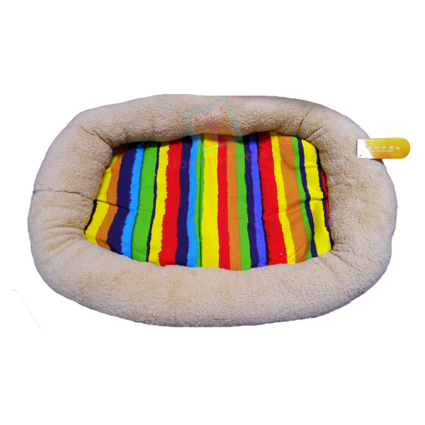Hoopets plush rectangle dog bed, Rainbow design washable, Beige, Medium