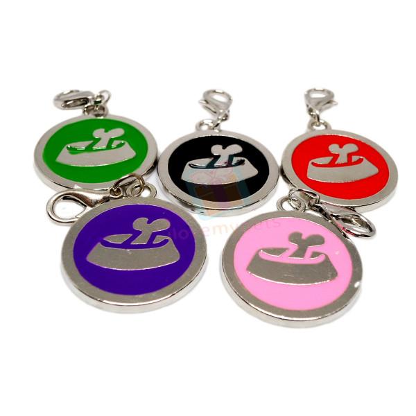Pet ID Tag W/ Clip, Food Bowl Design