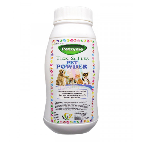 Petzyme Flea & Tick Powder w/ DE, 60 grams