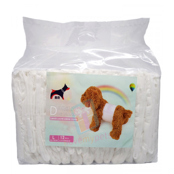 KUQ Disposable Male Wrap Dog Diaper, L