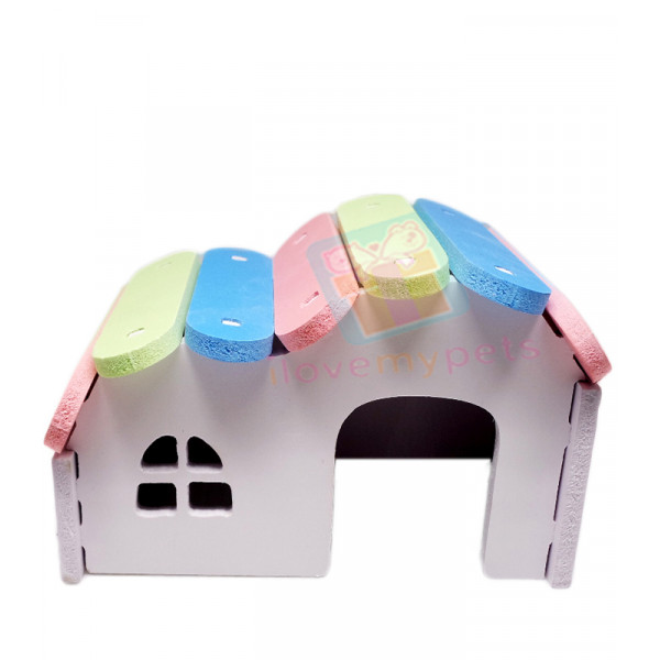 Happy Pets Colorful Wooden Hideout Hamst...