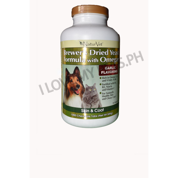 NaturVet Brewer's Yeast and Garlic with Linoleic and Omega and fatty acids  1000's