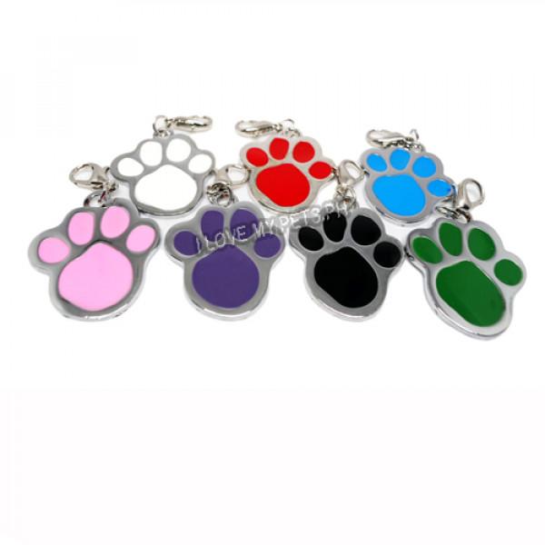 Pet ID Tag W/ Clip, Paw Print Design