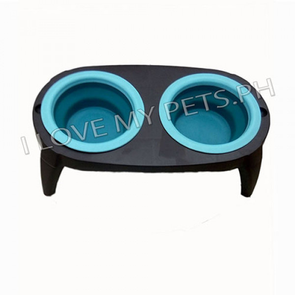 Collapsible silicon pet bowl w/ stand