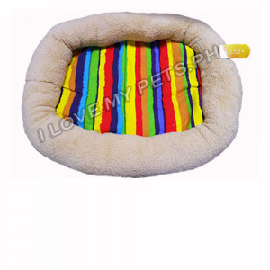 Hoopets plush rectangle dog bed, Rainbow...