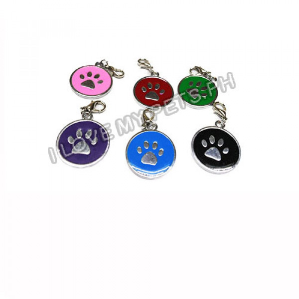 Paw Print Pet ID Tag w/ Easy Clip