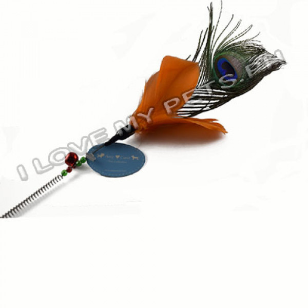 Cat teaser toy, springy w/ feather
