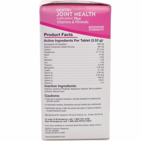 Sentry Joint Health Supplement Plus Vitamins & Minerals Advanced Strength (30 Chewable Tablets)