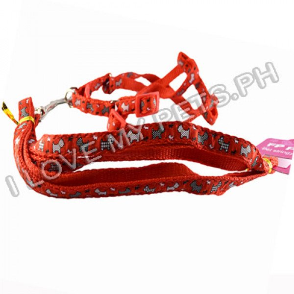 FP Printed Pet Collar W/ Leash (1.4 cm)
