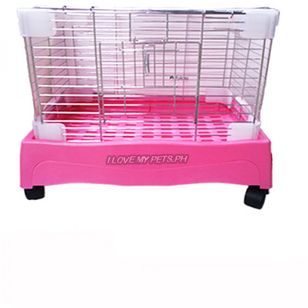 Rabbit Cage w/ Pull Out Tray & Wheels (Large) W/ Side & Top Opening