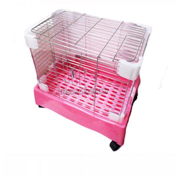 Rabbit Cage w/ Pull Out Tray & Wheels (Small) W/ Side & Top Opening