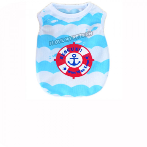 Anchor W/ Stripes Sleeveless Shirt (Blue...
