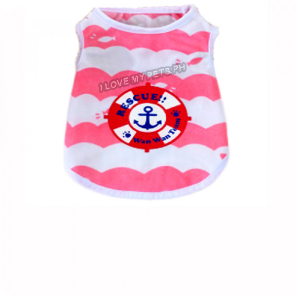 Anchor W/ Stripes Sleeveless Shirt (Pink...