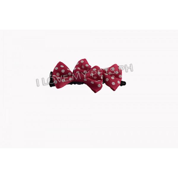 Polka dot ribbon clip