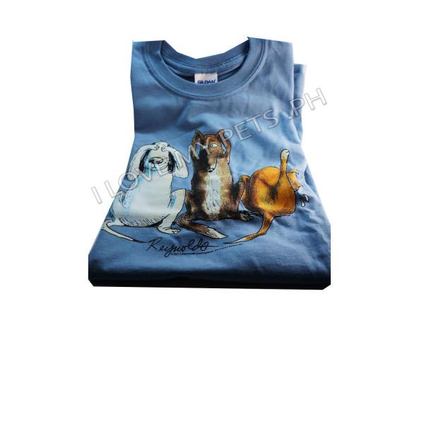 3 deaf dogs t shirt blue